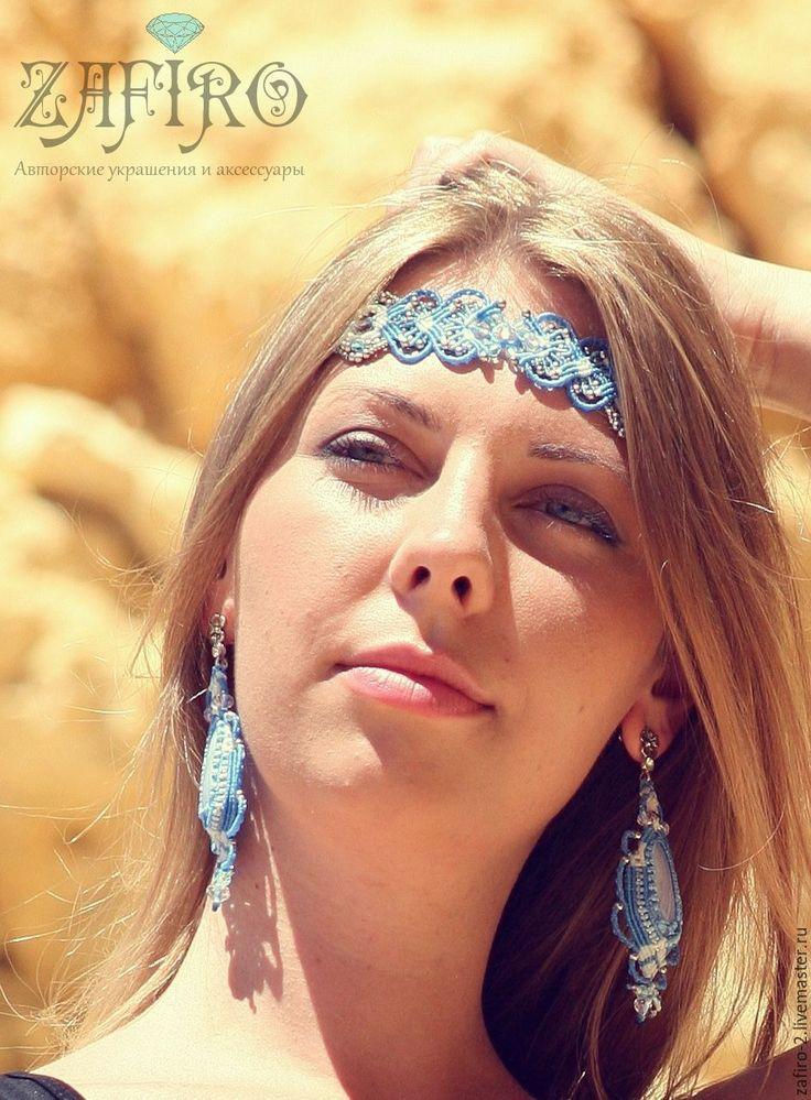 """Купить Диадема """"Хрустальные небеса"""" - голубой, Макраме, диадема, украшение на голову, свадьба, свадебное украшение"""