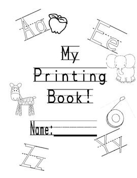 This is a ready to print and use printing practice book.  There is one page for each letter.  Each page contains capital and lower case practice as...