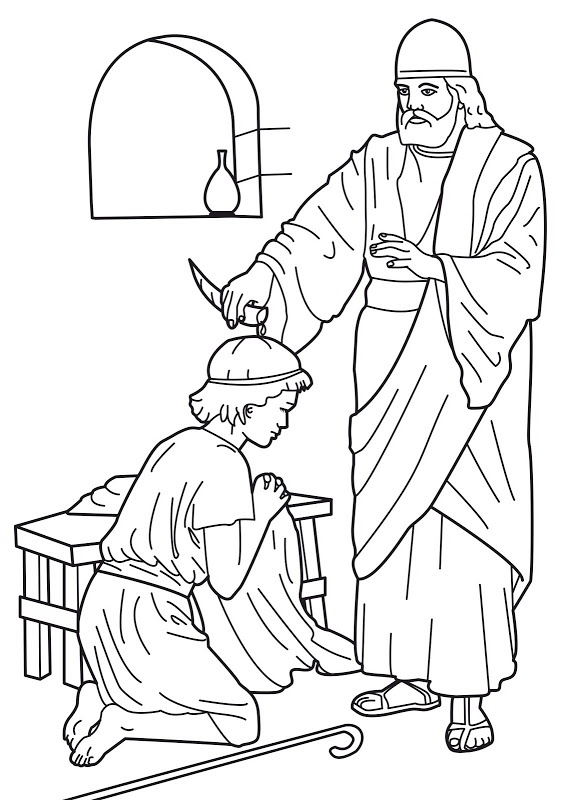 Samuel anointing david king bible coloring pages bible for King david coloring pages free