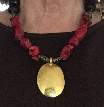 Red stones, black wood and gold by Scattered Creations