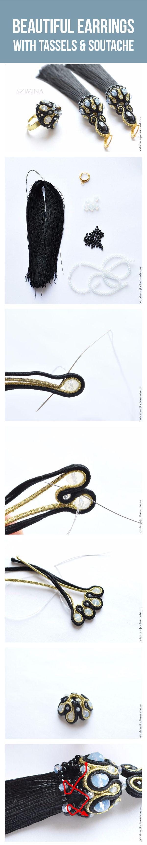 Beautiful earrings with tassels & soutache elements tutorial | Создаем серьги-кисти с объемными сутажными элементами