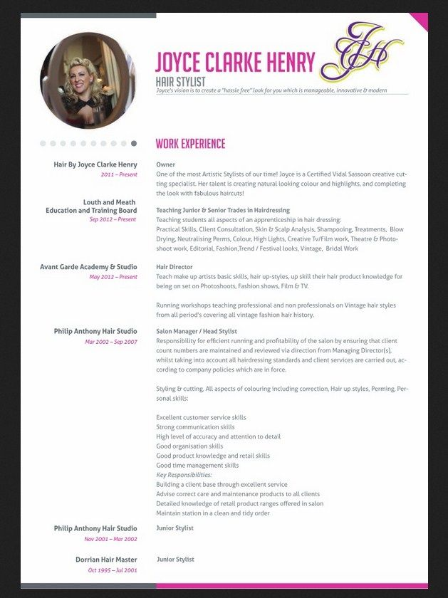 Professional Hair Stylist Resume - http://jobresumesample.com/1234/professional-hair-stylist-resume/
