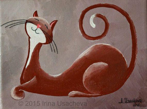 Peinture originale à vendre : Fantasy Cat « Smiling Cat en chocolat », acrylique