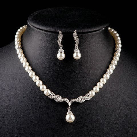 Platinum Plated Imitation Pearl Strand Earrings and Necklace Jewelry S | Stylish Beth
