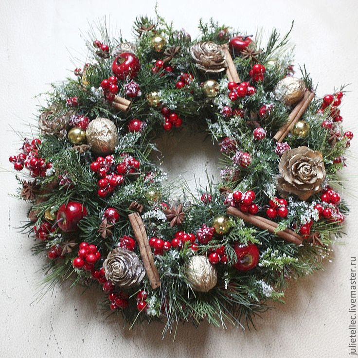 Купить Рождественский венок Грильяж - ярко-красный, рождество, Новый Год, венок на дверь, подарок