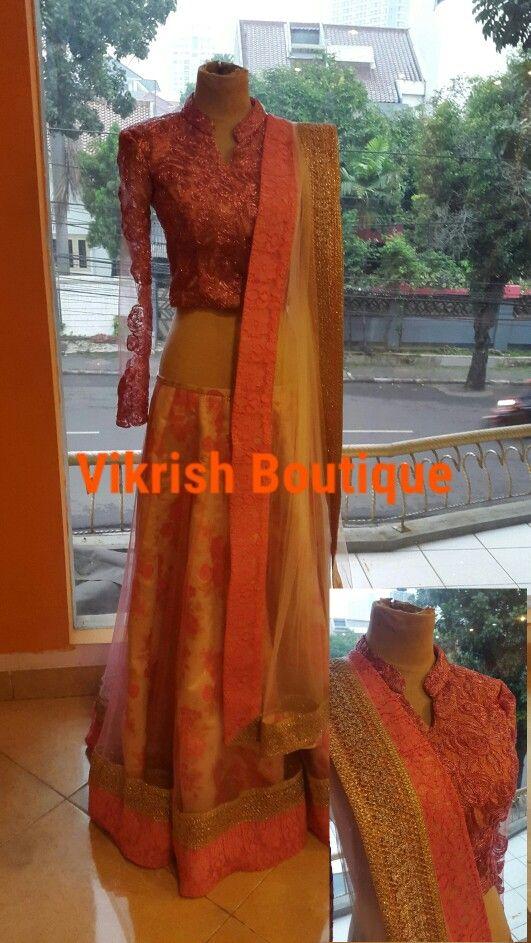 #lehenga-blouse#prada-lace#net#longslèeve#nude#chinese-collar#gold-boarder#bollywood#pardesi#desi-style#