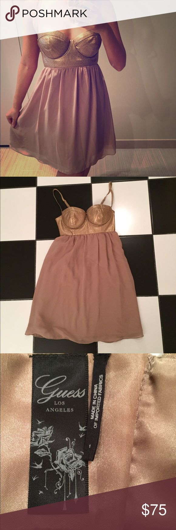 Gold Guess dress 🌟 Gold Guess dress. Gentle wear in good condition. No trades. Please ask all questions before purchasing and use the offer button, thanks! Guess Dresses