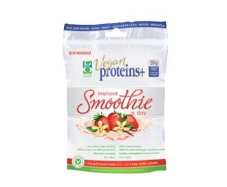 GENUINE HEALTH - Vegan Proteins+ Instant Smoothie: a creamy, great-tasting protein treat that's 100% vegan. The rich, natural, vanilla flavour with a splash of strawberry provides 20g of complete protein in a unique blend providing a balance of all essential amino acids as well as vitamins, minerals and antioxidants PLUS the recommended daily dose of organic non-GMO Vegan Vitamin D (1,000 IU)