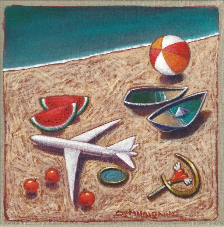 Dimitris C. Milionis - Plane  Boats Original Acrylic Painting Signed Greek #Modernism
