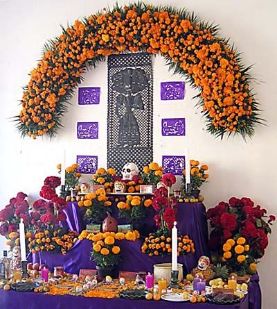 This would be an example of an altar, that many people who celebrate Day of the Dead would have to welcome the deceased.