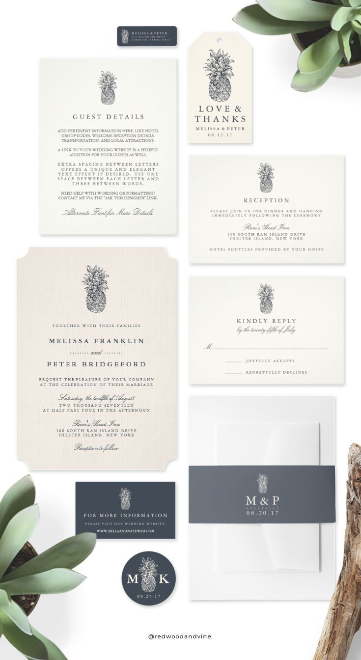 how to make film canister wedding invitations%0A Featuring the pineapple  traditional symbol of hospitality  these elegant wedding  invitations are a perfect