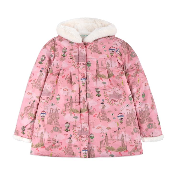 OILILY Girls 'Cute' Coat - Pink From £147 Girls hooded coat • Soft woven fabric • Water repellent • Zip and popper fastening • Warm fleece lining • Fairytale print • Material: 100% Polyester