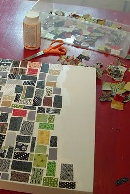 Fabric Mosaic on Canvas - how awesome of an idea is this?!