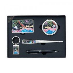 KLPKOREA INC [KL03326[10개가격]자개명함케이스+양면거울+봉투칼+고급볼펜+열쇠고리세트(특대)]