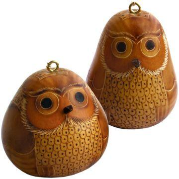 blonde owl petite gourd ornament