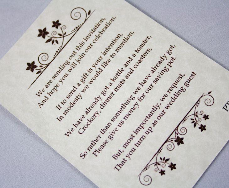 Wedding Invite Gift Poem: 21 Best Monetary Gift Wording Images On Pinterest