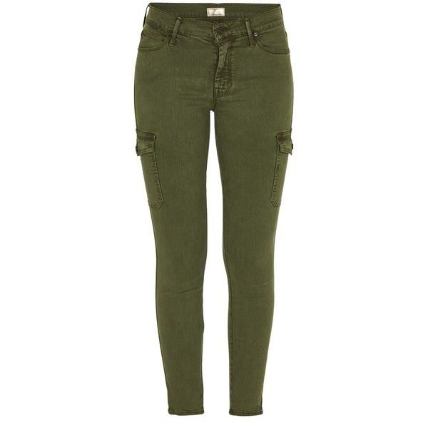 MOTHER DENIM The Charmer Cargo Trousers ($295) ❤ liked on Polyvore featuring pants, military green, olive skinny pants, army green pants, skinny trousers, skinny pants and olive green pants
