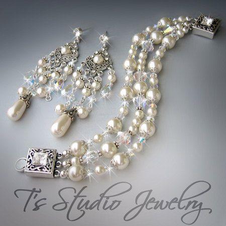 Long Pearl And Crystal Chandelier Bridal Earring Bracelet Set Elizabeth