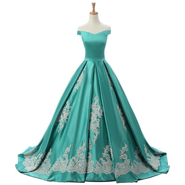 Sunvary 2016 Cap Sleeves Ball Gown Appliques Quinceanera Prom Dresses... ($62) ❤ liked on Polyvore featuring dresses, gowns, reception gowns, white evening dresses, applique gown, white gown and white evening gowns