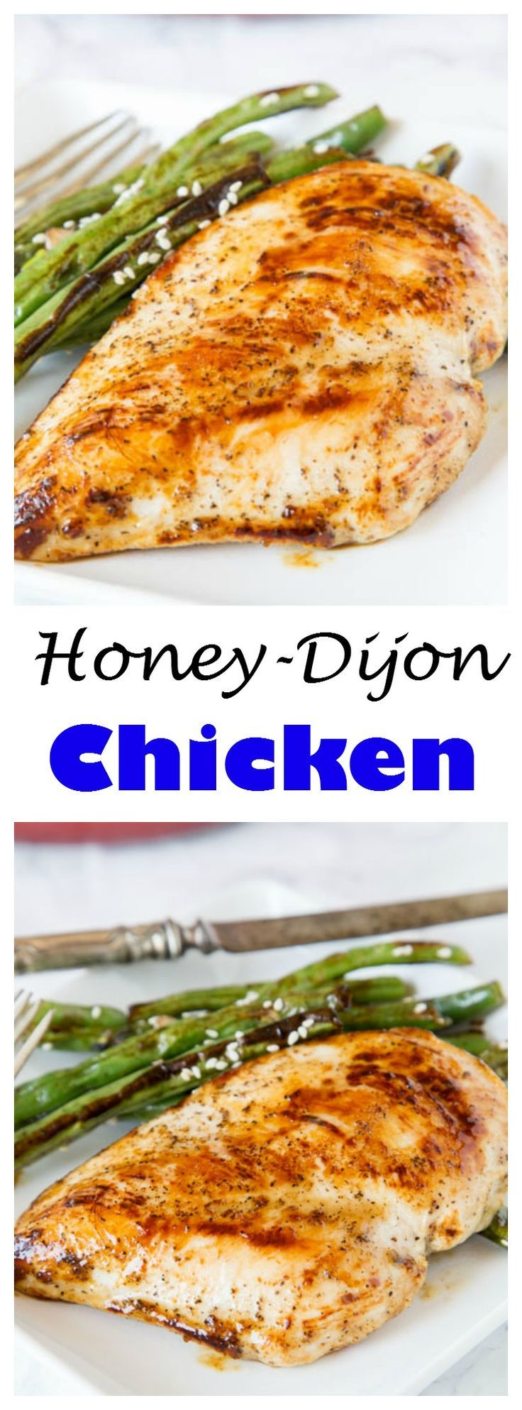 Honey Dijon Chicken - a healthy moist chicken cutlet that is coated with a honey dijon sauce. Ready in minutes, and great for any night of the week.