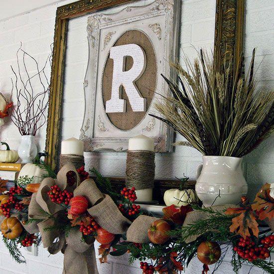 Frame a monogram for easy fall-style: http://www.bhg.com/thanksgiving/decorating/fall-mantel-decorating-ideas/?socsrc=bhgpin092814mantelwithframedmonogram&page=13