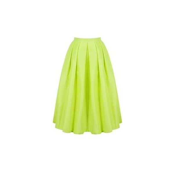 Electric Avenue Neon Lime Yellow Pearlescent Pleated Bell Flare A Line... ($98) ❤ liked on Polyvore featuring skirts, a line midi skirt, yellow skater skirt, midi skirt, pleated midi skirt and green skater skirt