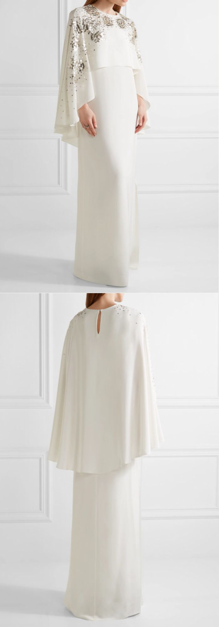 Oscar de la Renta Elegant Cape back embellished Silk - Satin Ivory Gown #ad #weddingdress #bride #cape #embellishment #winterweddings #asianwedding