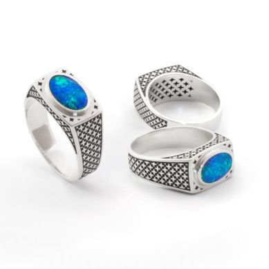 Patterned Opal Ring. Stunning black opal mined in Lightning Ridge Australia & sterling silver. Geoff Mitchell design.