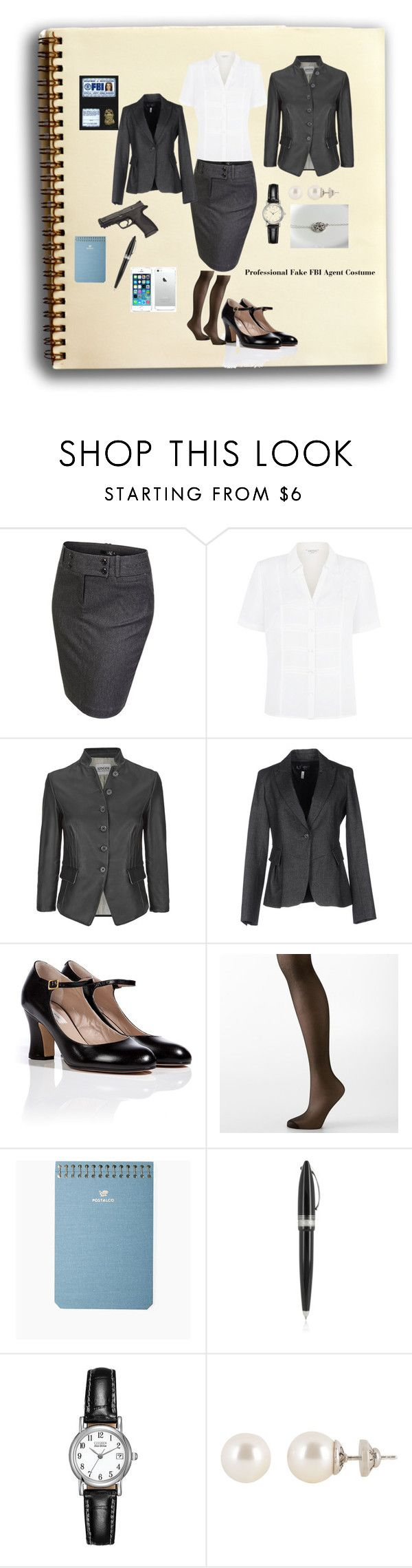"""FBI AGENT OUTFIT"" by sarahebaker ❤ liked on Polyvore featuring ANGELINA, J.TOMSON, Eastex, Armani Collezioni, Armani Jeans, Marc Jacobs, Hanes, Postalco, Pineider and Citizen"
