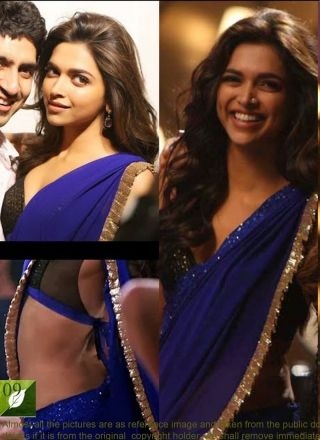 Royal Blue Dipika Fancy Sequins Work Bollywood Saree http://www.angelnx.com/