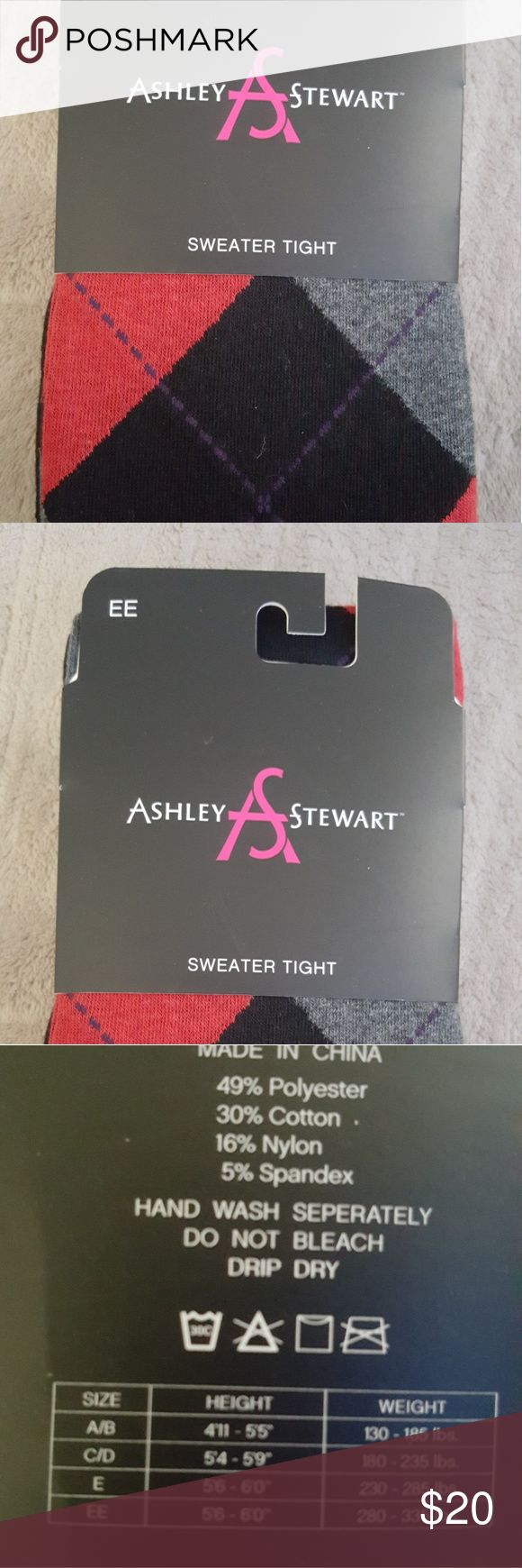 Plus size Argyle Sweater Tights NWOT!! Red and Black Sweater tights. Never worn. Please see the size chart. Ashley Stewart Accessories Hosiery & Socks