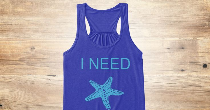 I NEED VITAMIN SEA women's tank top with starfish graphic.Choose your style: Bella+Canvas Flowy Tank or Bella+Canvas Fitted Tank.