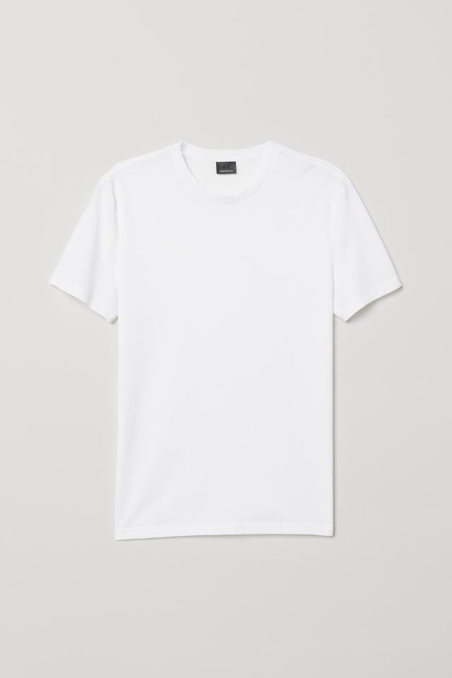 Slim Fit Crew Neck T Shirt White Men H M Us Kemeja T Shirt Kaos