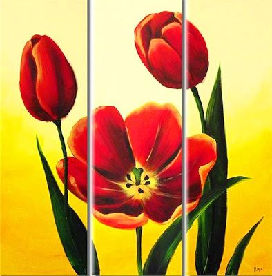 Cuadros Modernos Pinturas : Cuadros trípticos de flores modernas