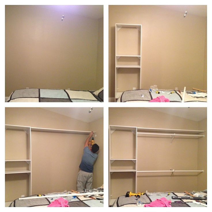 Diy closet have a plain wall need more closet space for How to build a walk in closet step by step
