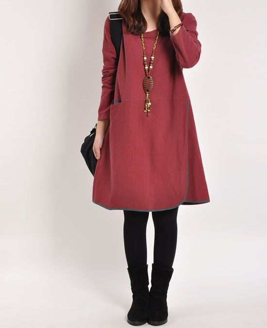 Darkred cotton dress linen dress long sleeve di originalstyleshop, $59.00