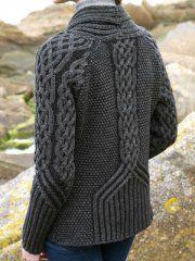 TWO-TONE BUTTON CARDIGAN Gray/Black Irish Merino Aran Sweater, Inis Crafts- found at Marshall's but company has on-line store InisCrafts.com