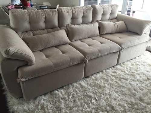 sofá 3 lugares assento retrátil e encosto reclinável