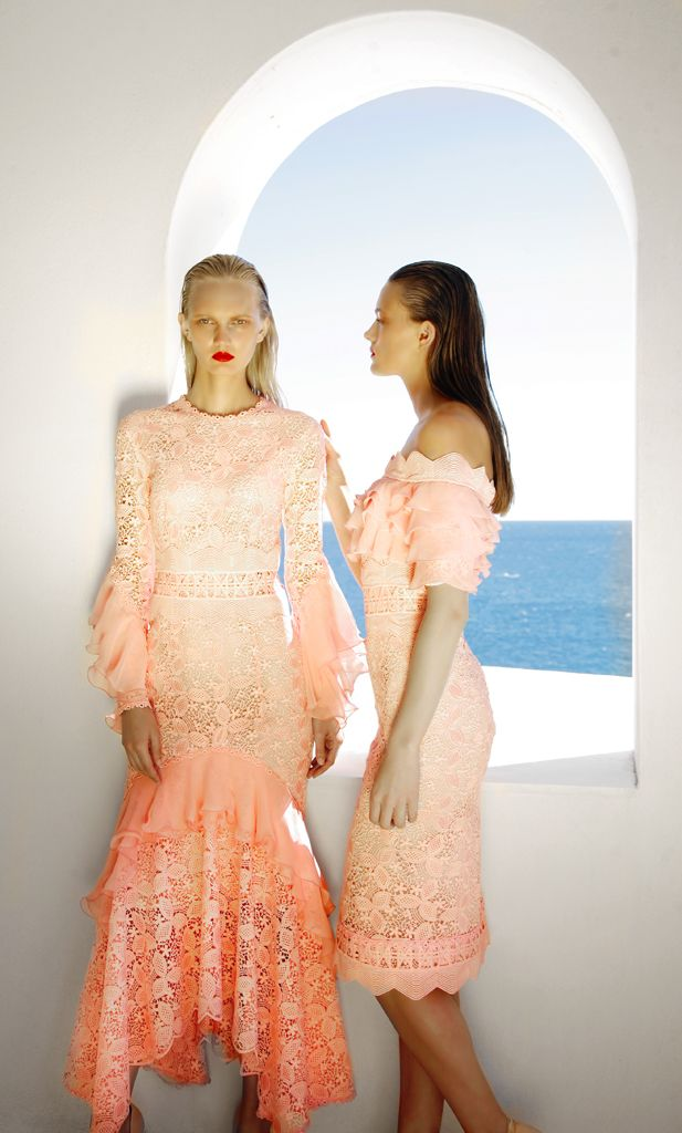 SS 1780 Guipure Lace Ruffle Sleeve Dress, Blush Pink SS 1781 Guipure Lace Off-The-Shoulder Ruffled Dress, Blush Pink
