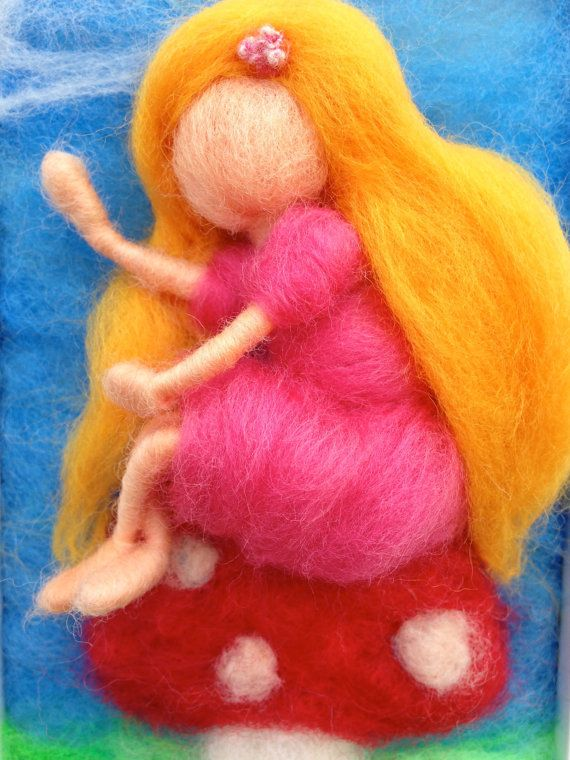 Needle Felted Picture of a Sprite Sitting on a Toadstool by WoolyRooDolls  $45.00 on ETSY