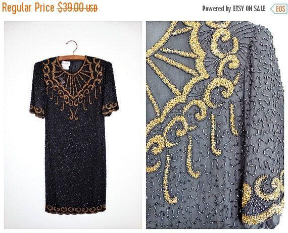CYBER VERKOOP VTG goud kralen jurk / / zwart en goud door braxae