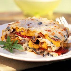 Roasted-Vegetable Lasagna   MyRecipes.com I use whatever veggies I have but always use roasted onions.