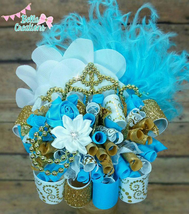 Gold turquoise white princess hair bow, ott hair bow, over the top hairbow, tiara hair bow, gold crown hairbow, fancy elegant hair bows by bellacreations123 on Etsy https://www.etsy.com/listing/253122046/gold-turquoise-white-princess-hair-bow