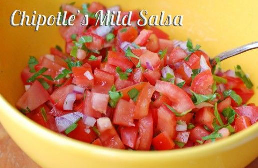 Chipotle's Mild Salsa Ingredients    5 Roma tomatoes, seeded and chopped  1 garlic clove, crushed  1/4 cup red onion, diced  1/4 tsp. salt    Cooking Directions  Stir all the ingredients together.  Scoop with chips or use as a topping on any Mexican meal.