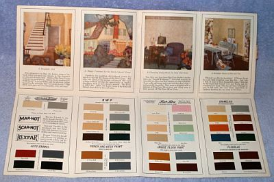 1924 Sherwin Williams Painting Guide with Color Chip Samples, Mailed Advertising Fold Out mailed from Wenzel's Paint Headquarters, Ann Arbor and Ypsilanti Michigan