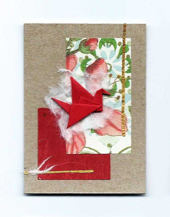 Original ACEO Origami Crane and Paper Collage-Miniature Art-Pocket Art-bird- #13 #Miniature