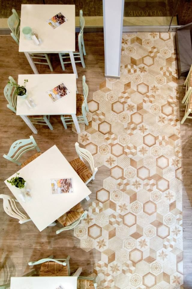 @marcacorona #Hexagon #Tile Terra collection @PsitopolioDoudoumisRestaurant in Kòrinthos (Greece)