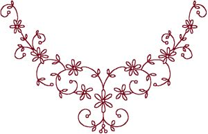 wind star embroidery :: Redwork Starflower Centerpiece