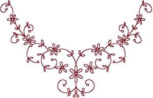 wind star embroidery :: Redwork Starflower Centerpiece