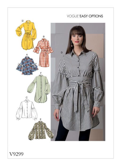 V9299 Loose fitting tops have sleeve and length variations. A: Ribbon. B, D: Self fabric belt. Spring 2018